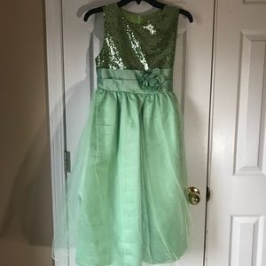 Girls iEFiEL Green sequin and tulle dress